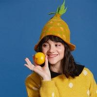Wet Felt Pineapple Fedoras Hat Women Cute Sweet Valentine'S Day Vintage Fashion Ladies Hat Children'S Gift Christmas Halloween