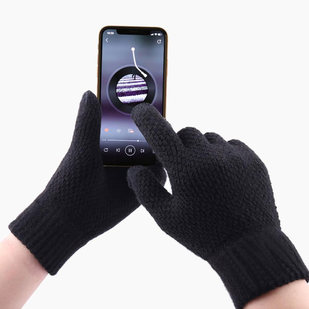 Men Winter Solid Color Full Finger Touch Screen Fleece Lined Warm Knitted Gloves