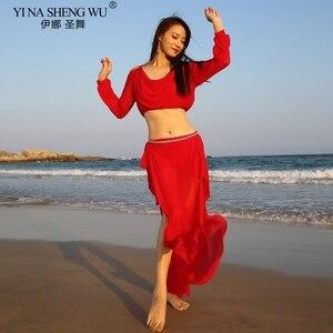 Image 4 - ใหม่เลดี้Belly Danceเครื่องแต่งกายฝึกBelly Danceชุดสวมใส่กระโปรงตาข่ายOriental Dance Belly Dance Topและกระโปรงเต้นรำชุด