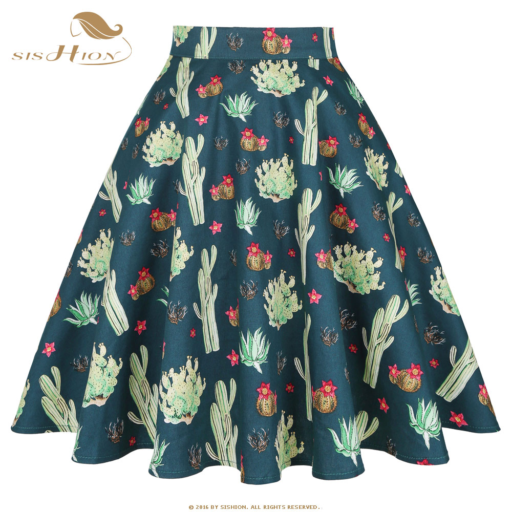 SISHION Summer Women Clothes Summer Flower Print Floral Midi Skirt VD0020 Ladies A Line 50s Vintage Retro Cotton Women Skirt