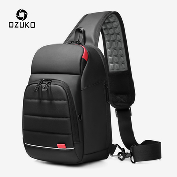 OZUKO Multifunction Waterproof Shoulder Bag Men USB Charging Messenger Bags Male Quality Sling Man Short Trip Crossbody
