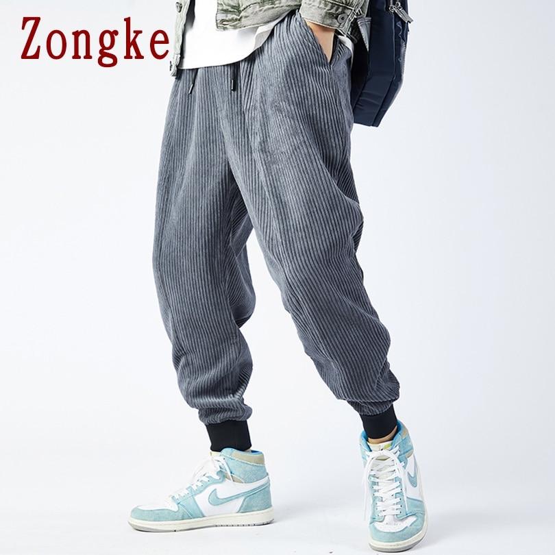 Zongke corduroy inverno harem calças dos homens corredores sweatpants streetwear japonês calças masculinas calças de trabalho 2020 m 3xl Calça Casual    -