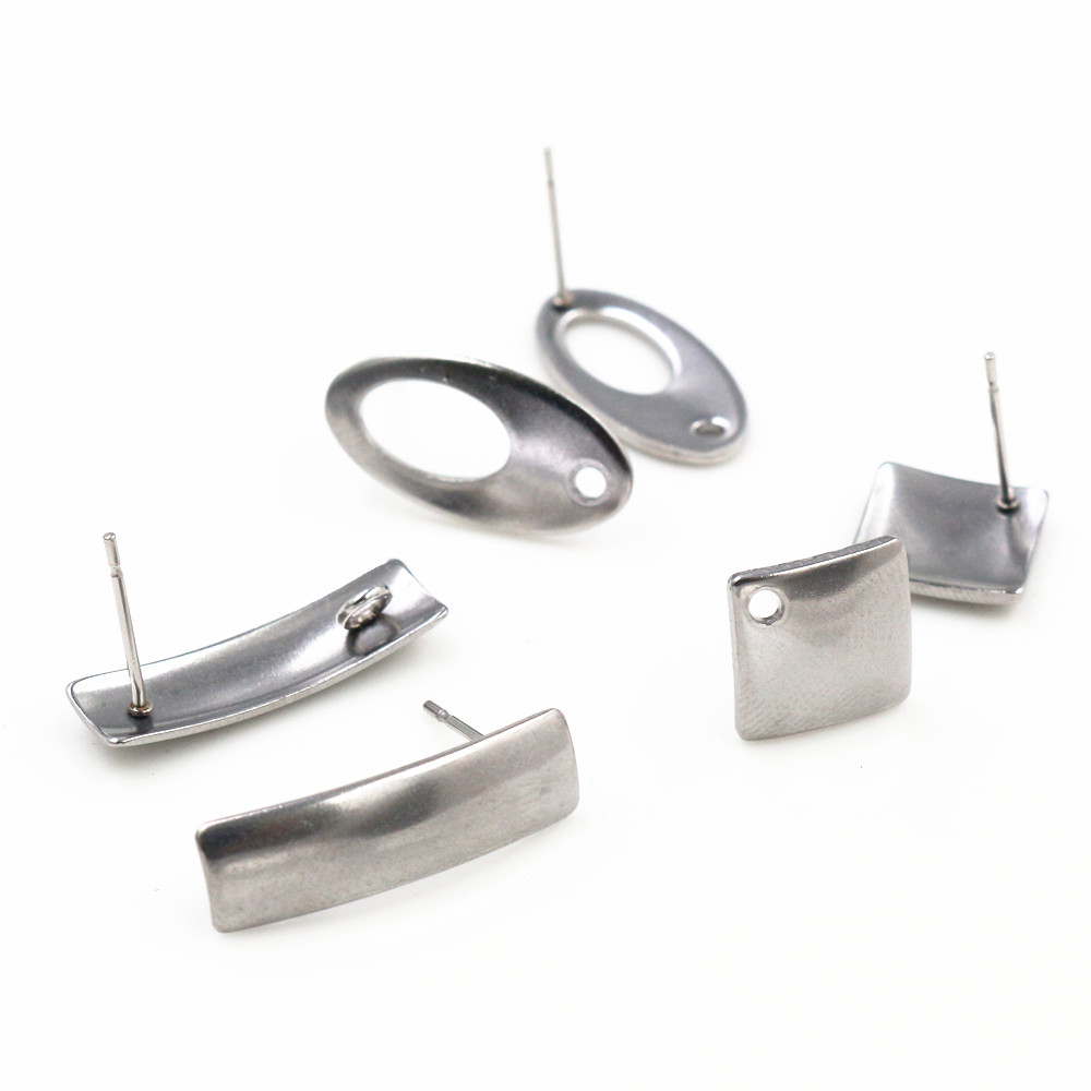 20pcs/Lot 316 Stainless Steel Geometric Polygonal Earring Stud Earring Posts Connector For DIY Earring Jewelry Making Supplies