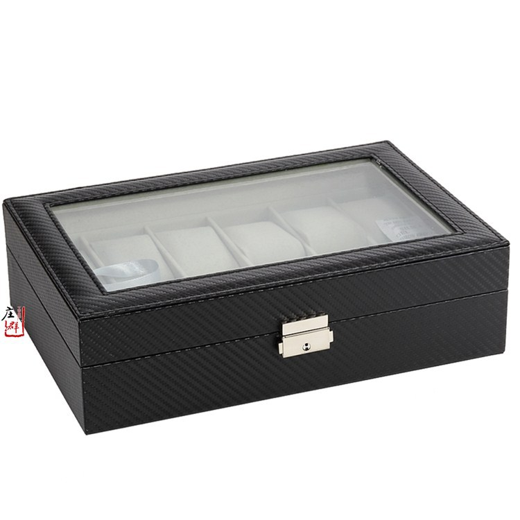 Manufacturers Direct Supply New Style Carbon Fiber Watch Box 12 Ge Zhuang Leather Metal Lock Catch Watch Silver Lock Watch Box