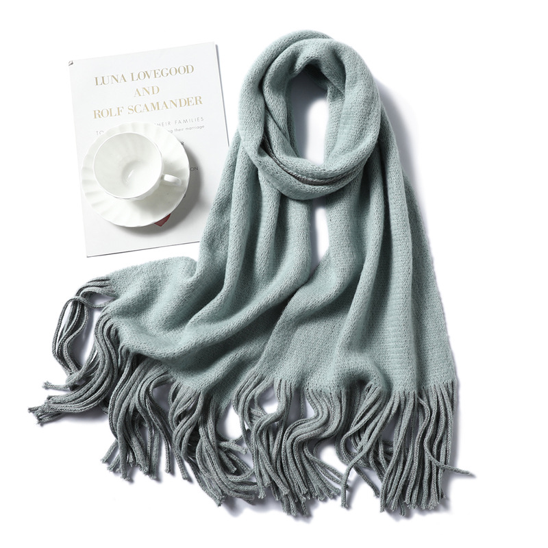 TagerWilen 2019 New Luxury Brand Winter Scarf Double-side Female Wool Cashmere Knitting Scarf Pashmina Tassels Women Wrap Shawl