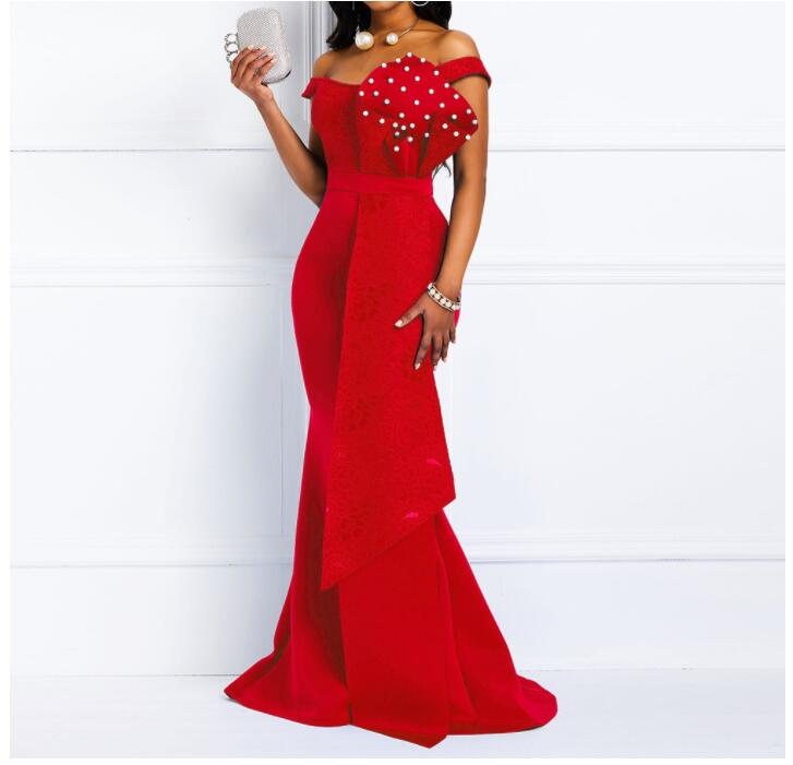 Vintage African Women Long Dress Sexy Mermaid Off Sholder Beading  Skinny  Evening Fashion Plus Size  Elegant Party Maxi Dresses