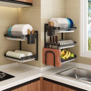 Black Stainless Steel Kitchen Storage Dish Drain Rack Wall Mounted Dish Rack Drain Rack Free Perforation Kitchen Storage Rack Leather Bag