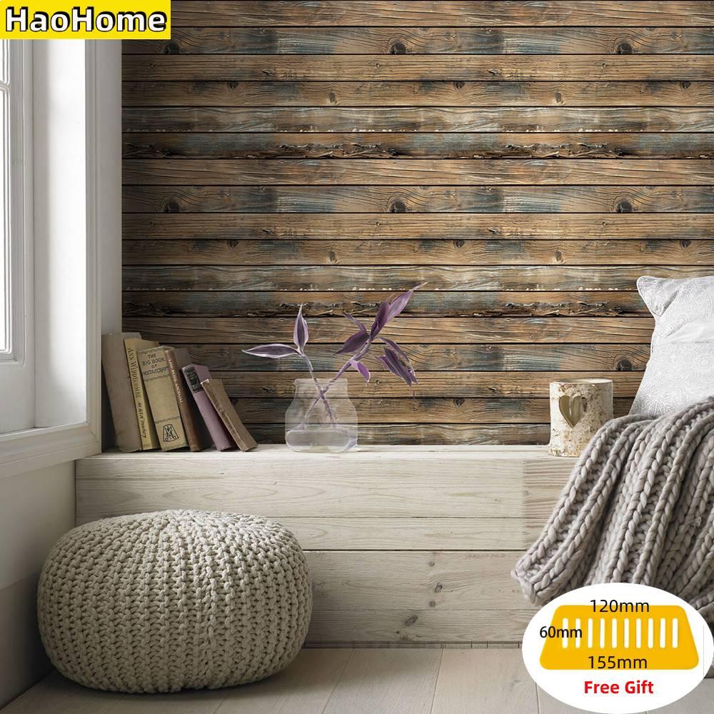 HaoHome Self Adhesive Wall Paper Faux Wood Grain Peel and Stick Wood Wallpaper Vinyl waterproof Wall Stickers