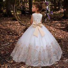 Wit Kant Bruidsmeisje Jurk Kinderen Jurken Voor Meisjes Kinderen Prinses Avond Kinderkleding Jurk Meisje Party Trouwjurk Kostuum