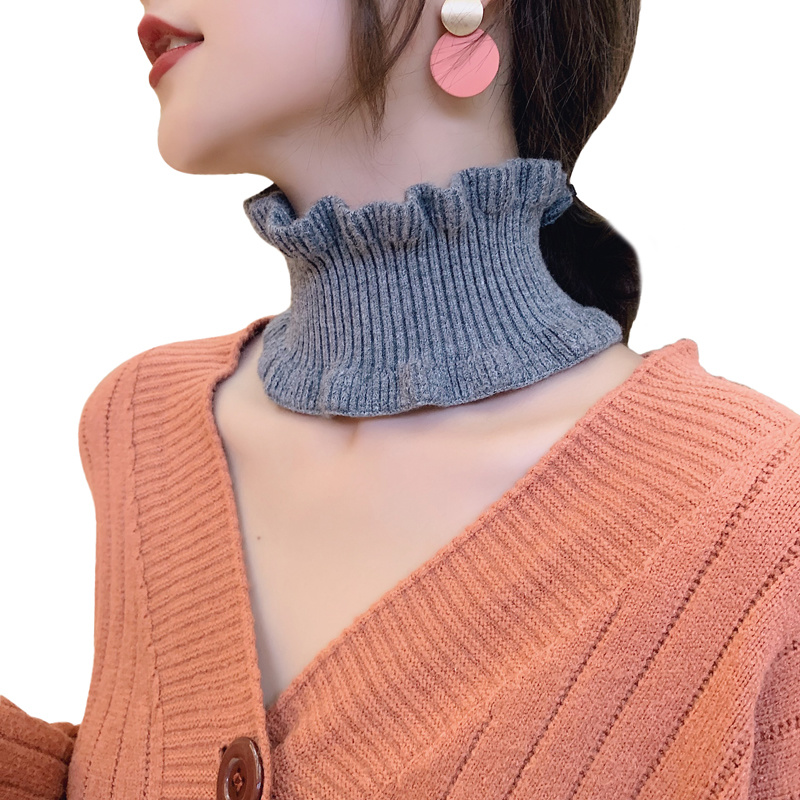 Sparsil Women Winter Knitted Ring Scarf Autumn Spring Fashion Neck Collar Solid Color Ear Collar Wool Small Scarves Female Girl