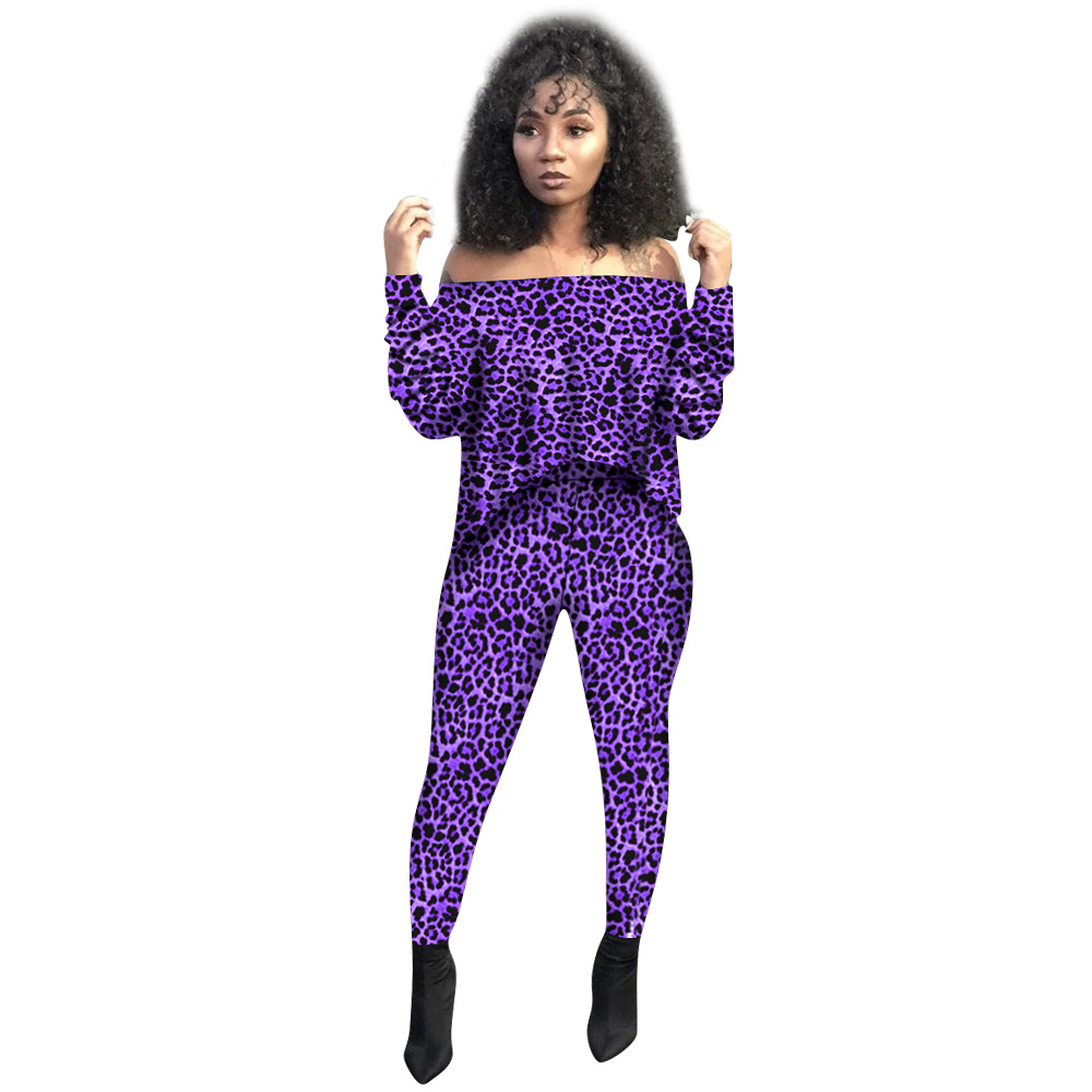 Autumn Winter Women Two Piece Set Top And Pants Plus Size Tracksuit Sweatsuit Outfit Casual Leopard Print Active Sets