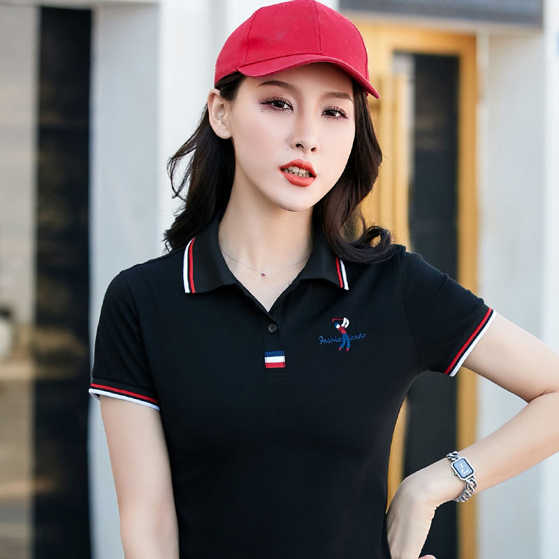 Fashion Summer Embroidery  Big Horse  POLO Shirts For Women Turn-down Collar Casual Polo Shirt Short Sleeve Solid Cotton Tops