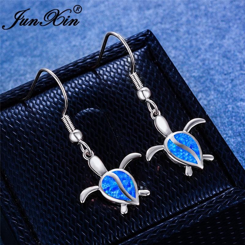 Cute Animal Turtle Drop Dangle Earrings White Gold Rose Gold Color Pear Teardrop Blue Fire Opal Earrings For Women Wedding Gifts