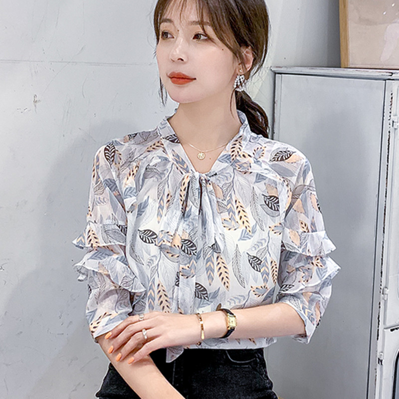 Korean Chiffon Blouses Women Floral Blouse Tops Plus Size Blusas Mujer De Moda 2020 Woman Print Ruffles Blouse Top Camisas Mujer