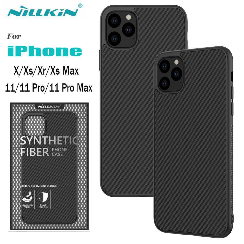 Case for iPhone 11 XR Nillkin Synthetic Fiber Carbon PC Back Cover Bag for iPhone 11 Pro Max Slim Phone Case for iPhone X Xs Max image