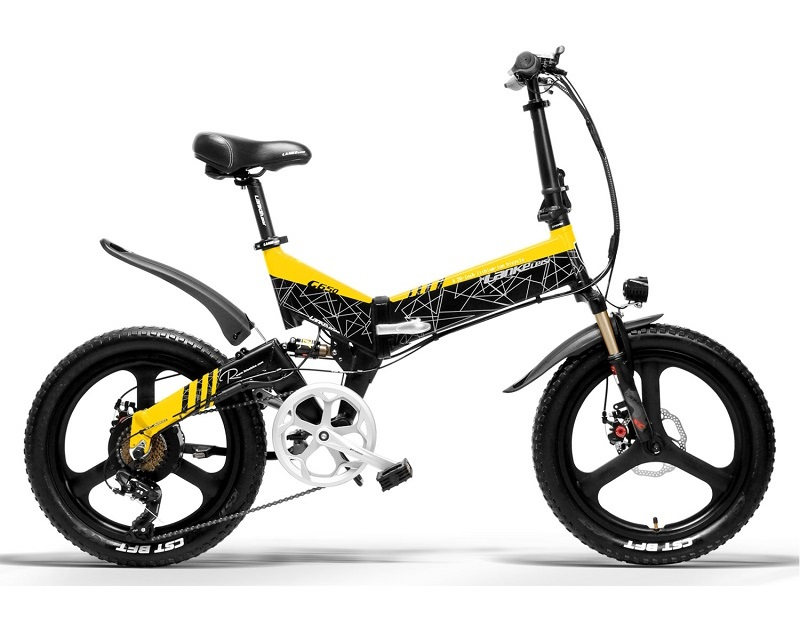 LANKELEISI Electric Bicycle 20 inch Folding E-bike 400W 48V Lithium Battery 7 Speed Pedal Assist