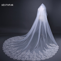 Bridal Lace 3M Wedding Veil Exquisite Sequin Printed Bridal Veil Long with Comb Wedding Accessories