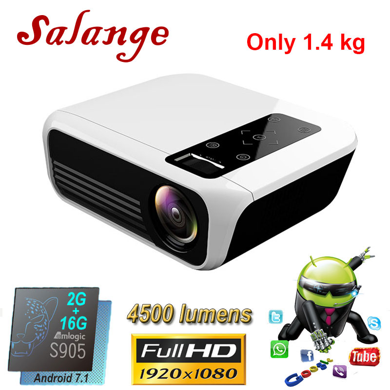 Salange Led Projector 4500 Lumens Mini Home Cinema Full-Hd Usb-Beamer 1920x1080p Android 7.1