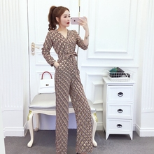 New arrival Women Clubwear V-neck Print  Jumpsuits Party Office Lady P