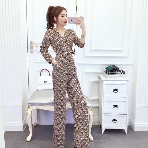 New arrival Women Clubwear V-neck Print  Jumpsuits Party Office Lady Playsuits Romper Trousers Pakistan