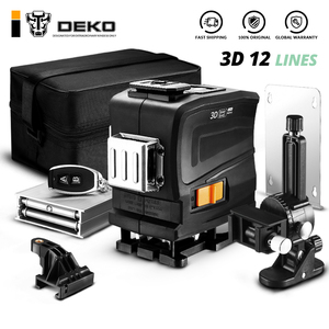DEKO New 12 Lines 3D Green light Horizontal&Vertical Lines Laser Level with Remote Control,High-Precision, Self-Leveling, Indoor(China)