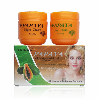 PAPAYA Whitening anti freckle natural botanical formula skin care whitening cream for face cream facial cream 4sets/lot papaya whitening day and night cream anti freckle face cream improve dark skin refreshing face skin