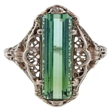 Shiny Square Green Stone Silver Color Rings For Women Engagement Wedding Ring Hellow Out Ring Vintage Jewelry Anillos Mujer J395 kcaloe lady women green stones ring charm brand jewelry antique black rhinestone natural stone wedding anniversary rings anillos