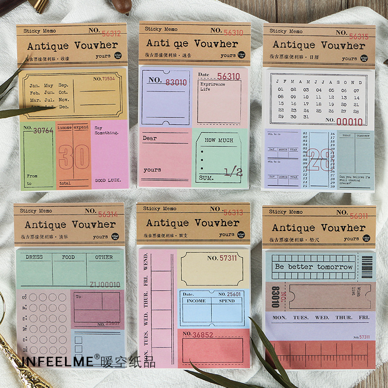30Sheets Vintage Memo Pad Sticky Notes Antique Ticket Series Scrapbooking Stickers Office School Stationery Message Card