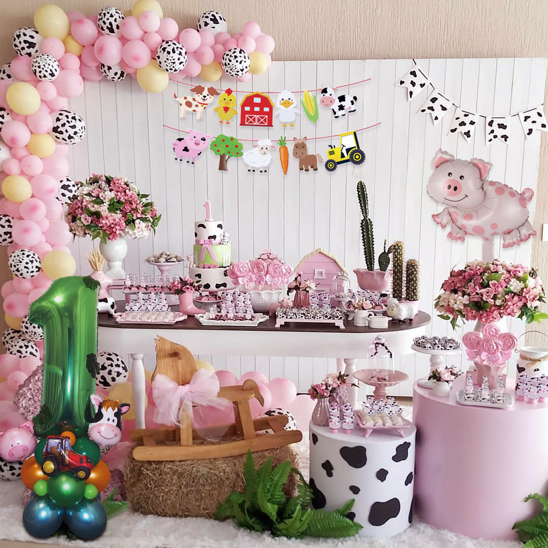 1set Animal Farm Happy Birthday Banner Cow Pig Balloon Construction Vehicle Balloons Track Balloon For Baby Shower Party Supply