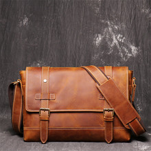 Nesitu High Quality A4 Vintage Brown Thick Durable Genuine Crazy Horse Leather font b Men b