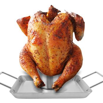 Nonstick piwo pieczony kurczak Pan odpinany grill pieczenie stal nierdzewna pieczony kurczak Pan grillowany uchwyt narzędzie do grillowania na świeżym powietrzu tanie i dobre opinie CN (pochodzenie) Other Łatwe do czyszczenia 25771 Narzędzia