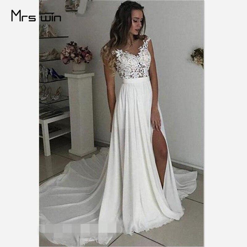 Mrs Win Wedding Dress V-neck Lace Wedding Dresses Sleeveless Split Hem Vestido De Noiva Plus Size Train Bridal Ball Gowns HR021