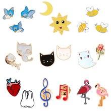 2~3pcs/set Jewelry Cute Cartoon Brooch Women Bee Sun Moon Cat Flamingo Icon Button Denim Jackets Badge Dentist Doctor Lapel Pin