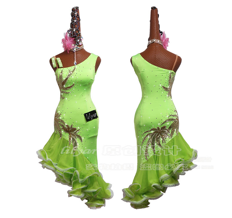 Fluorescent Green Embroidery Latin Dance Competition Dresses Women Performance Dance Costume Female Ballroom Dress Latin Clothes