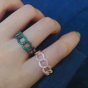 Image 3 - SLJELY Fashion Rock różowe złoto kolor 925 srebro różowy łańcuszek Link Ring Finger Micro Pave cyrkon kobiety wrzesień biżuteria