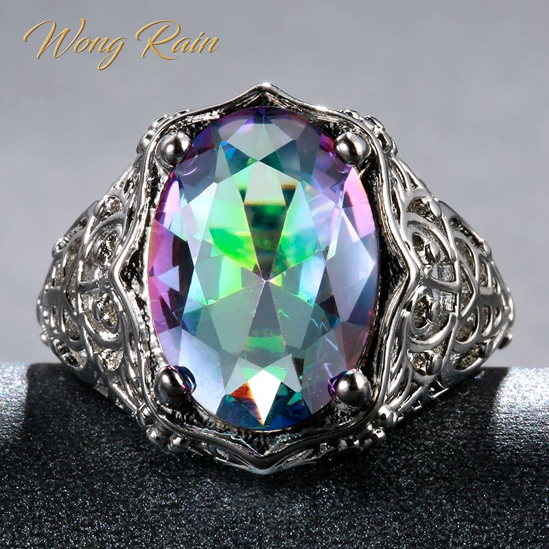 Wong Rain Vintage 100% 925 Sterling Silver Mystic Rainbow Topaz Gemstone Wedding Engagement Hollow Ring Fine Jewelry Wholesale