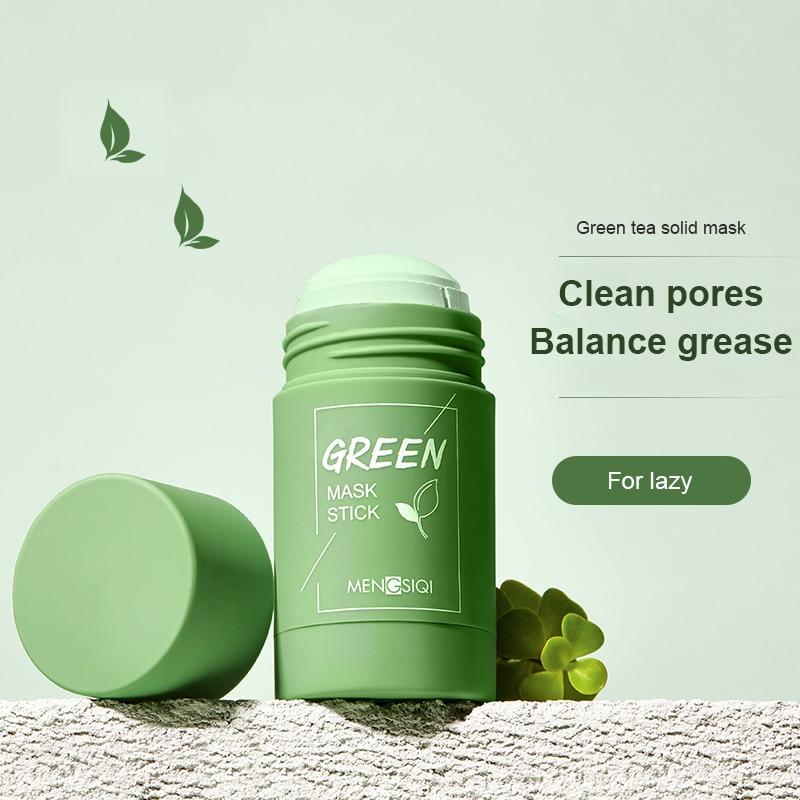 Mascarilla de limpieza profunda para el barro, té verde, extracto de berenjena, Control de aceite, poros, encogimiento de espinillas, mascarilla de limpieza Facial