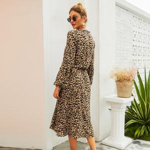 Image 5 - New Arrival Midi Womens Leopard Dress Long Sleeve Fashion A Line V Neck High Waist Boho Summer Dresses Casual Bohemian Vestidos