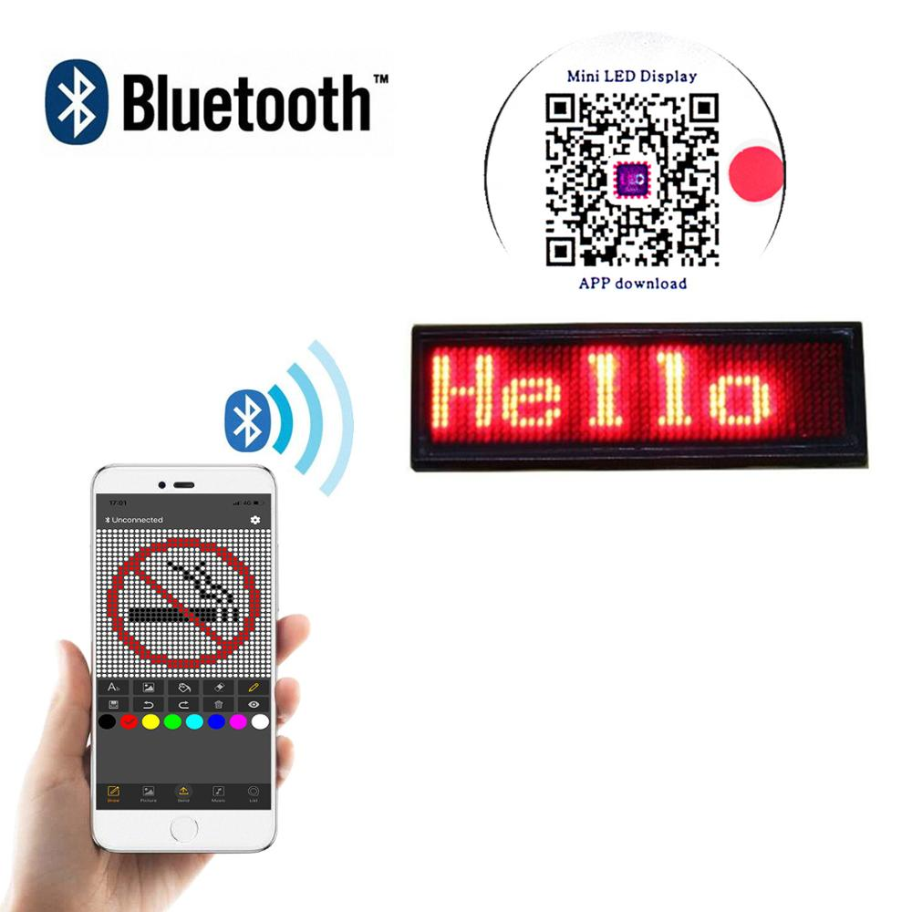 Bluetooth Led Pin Badge Rechargeable Programming Scroll LED Display Tag Digital / Business Card Display Label Dropshipping