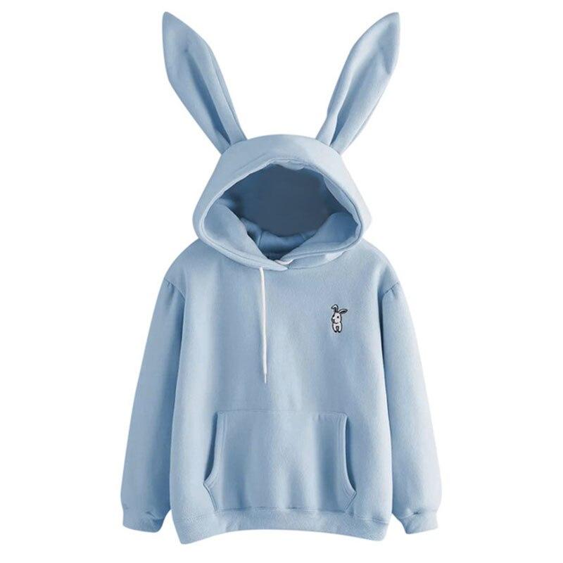 Women's 2019 Hot Sale Cute Bunny Girl Hoodie Casual Cute Long Sleeve Sweatshirt Pullover With Ears S-XL Ladies Top Sweatershirt