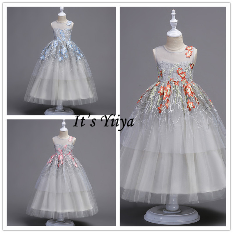 It's YiiYa   Flower     Girl     Dresses   3 Colors Sleeveless O-Neck Kids Evening   Dresses   Floor Length   Girls   Pageant   Dresses   For Party 573