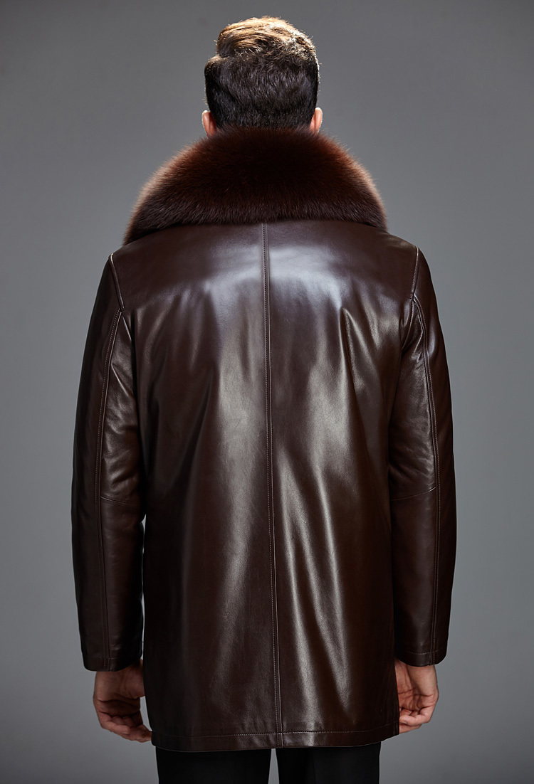 Winter Leather Jacket Men Real Mink Fur Coat Mens Genuine Sheepskin Leather Jacket Fox Rabbit Fur Collar Plus Size 6068Z