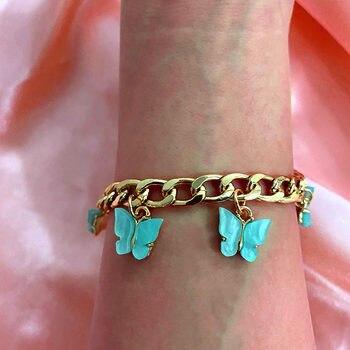 JUST FEEL Boho Sweet Acrylic Metal Bracelets Girls Shining Gold Silver Color 16 Butterfly Wide Bracelet 2020 Fashion Jewelry