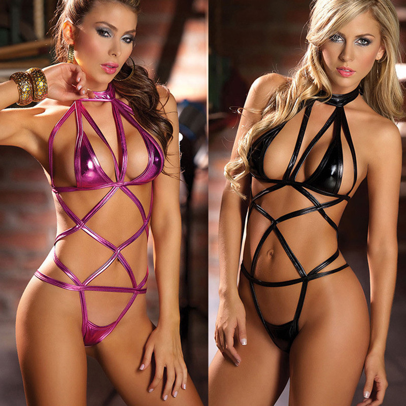 Women Bandage Lingerie Sexy Hot Erotic Crotchless Teddies Babydoll Faux Leather Cross Harness Underwear Nightclub Dance Costumes