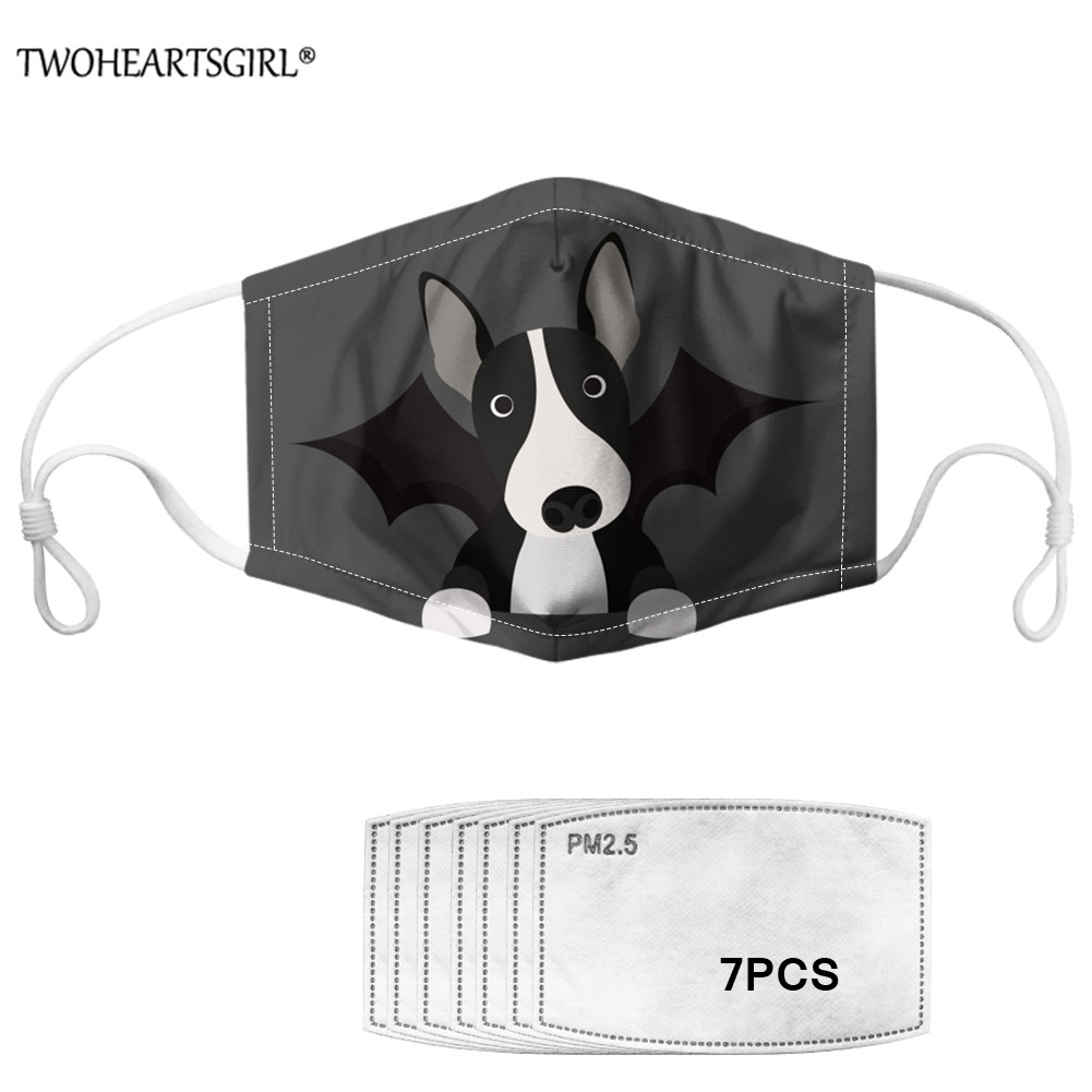 Twoheartsgirl Bull Terrier Printed Adults Mouth Mask With 7Pcs Filters Dustproof Reusable Face Mask Washable Mouth-muffle Mask