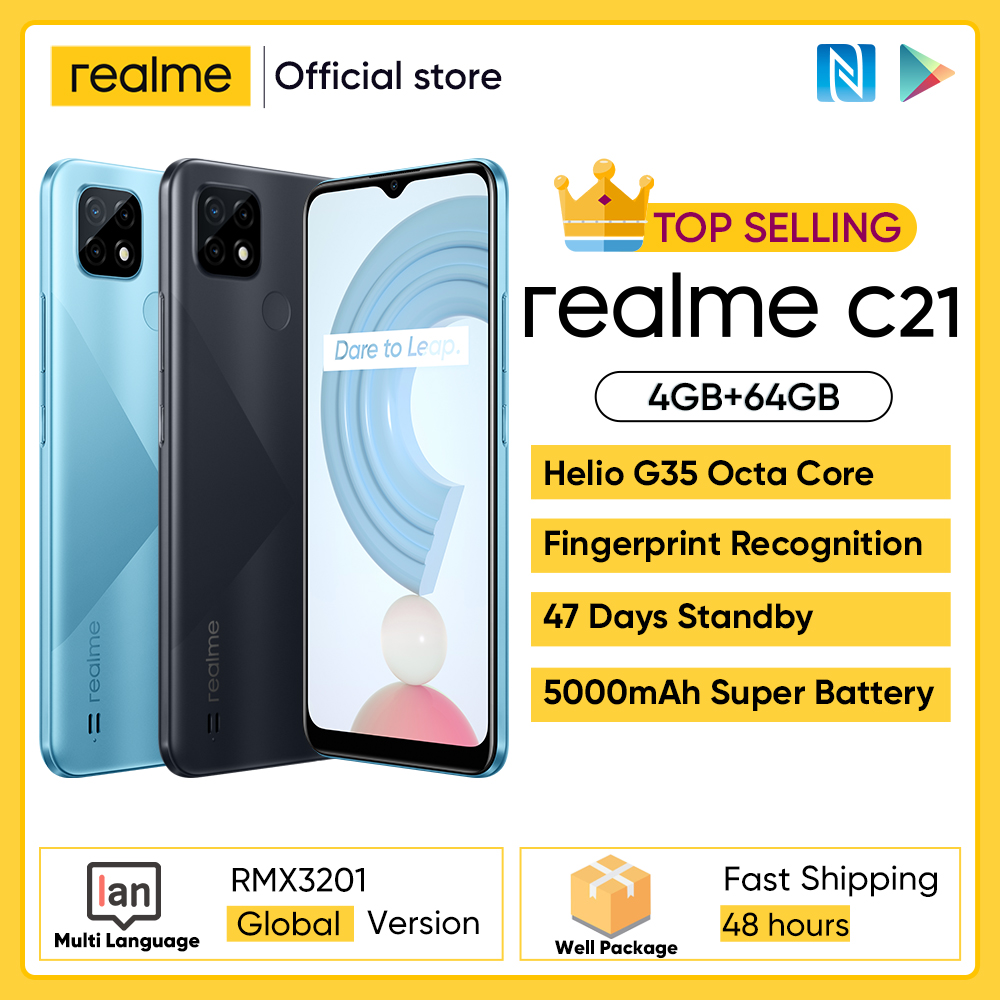 Смартфон глобальная версия realme C21 4 Гб 64 ГБ, Восьмиядерный процессор Helio G35, экран 6,5 дюйма, массивный аккумулятор 5000 мАч, 3 слота для карт, камер...
