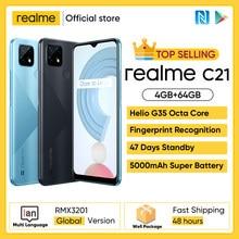 Realme – Smartphone C21, Version globale, 4 go 64 go, Helio G35 Octa Core, écran 6.5 pouces, batterie Massive 5000mAh, 3 cartes, caméra 13mp