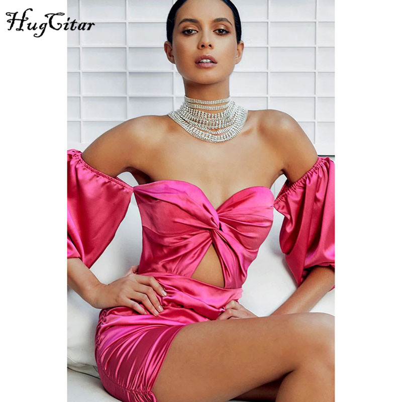 Hugcitar 2019 Long Puff Sleeve Satin Slash Neck Sexy Pink Mini Dress Autumn Winter Women Party Elegant Hollowout Pleated Outfits