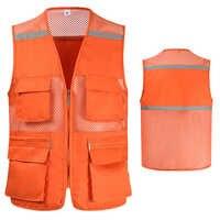 Chaleco de seguridad de malla naranja de alta visibilidad para hombre, ropa de trabajo con múltiples bolsillos