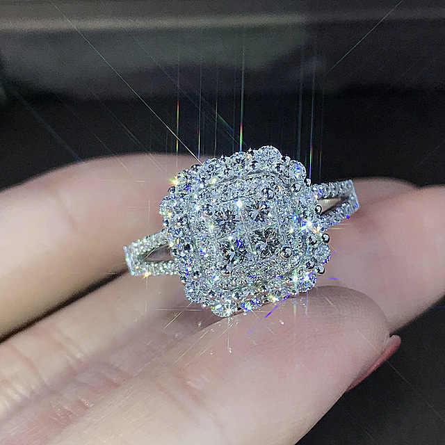 Luksusowy świecący duży kamień cyrkon kolor srebrny pierścień dla kobiet zaręczyny ślub błyszczący pierścień Party biżuteria moda kobieta 2019